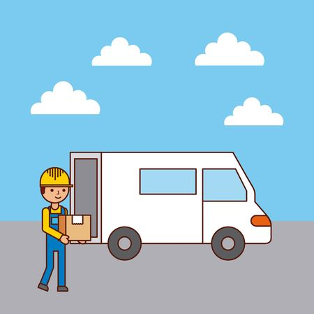 worker logistic loading truck with box vector illustration