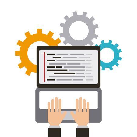 handen van programmeur werken web programming oplossing talen vector illustratie