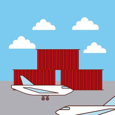 logistic airplanes and containers shipping concept vector illustration Illustration