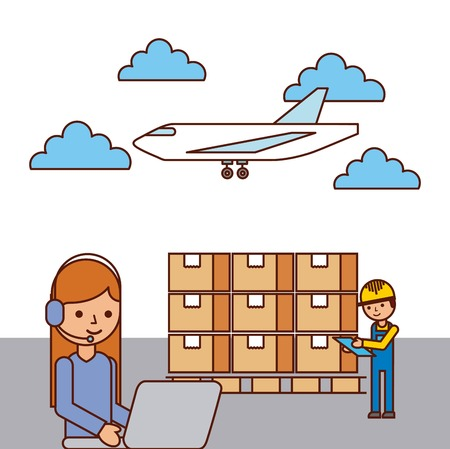 girl laptop: girl worker laptop and man boxes airplane vector illustration Illustration