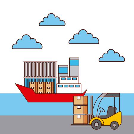 forklift boxes and boat container transport delivery vector illustration