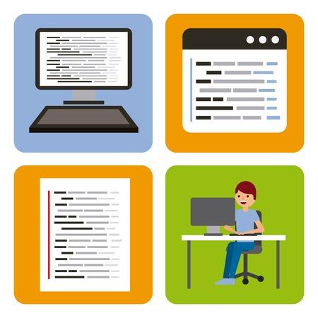 program coding set icons web design vector illustration