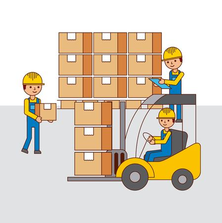 logistic warehouse people forklift and cardboard boxes vector illustration Vectores