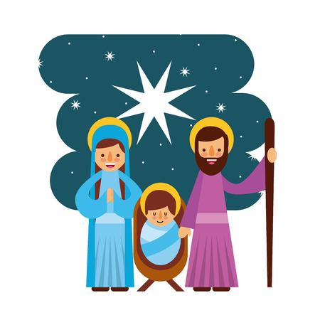 Feliz Navidad manger mary joseph familia vector illustration Foto de archivo - 87065027