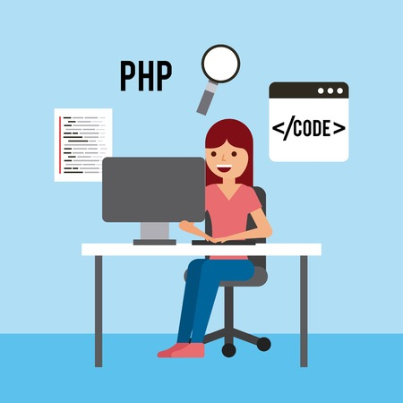 girl laptop: girl sitting working laptop program code php search technology vector illustration