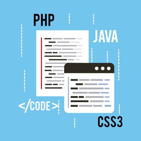web プログラミングの概念の言語コード css3 php と java ベクターイラスト