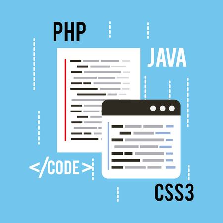 web programming concept languages code css3 php and java vector illustration Иллюстрация