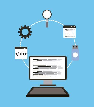 technologie computer programmeren usb vergrootglas taal web vectorillustratie Stock Illustratie