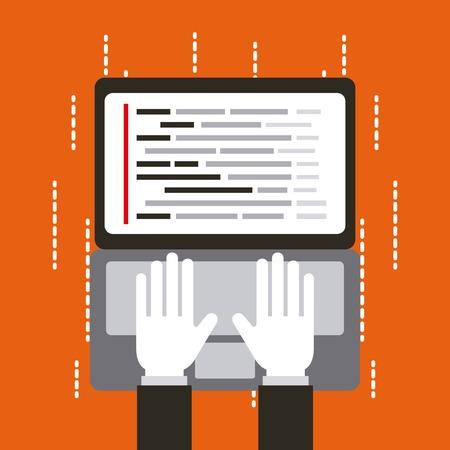 programmeur werkende interface web programmeertalen vectorillustratie