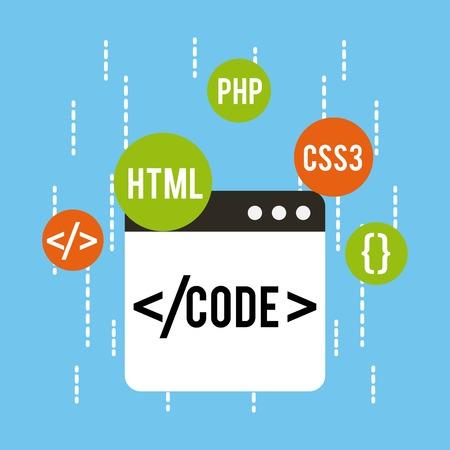 web 開発コード html css php ベクトル図