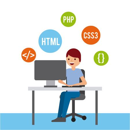man programmer working on his pc computer coding and programming vector illustration