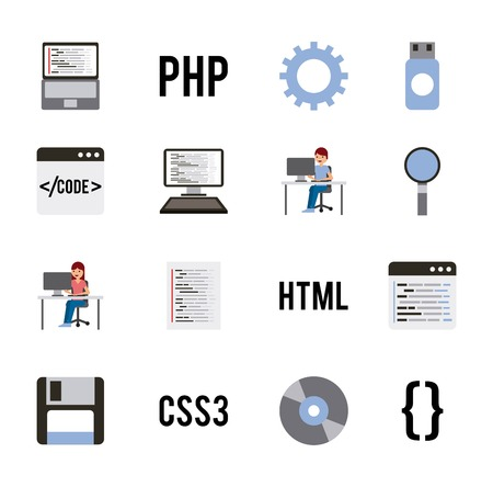 program coding set icons web design languages vector illustration