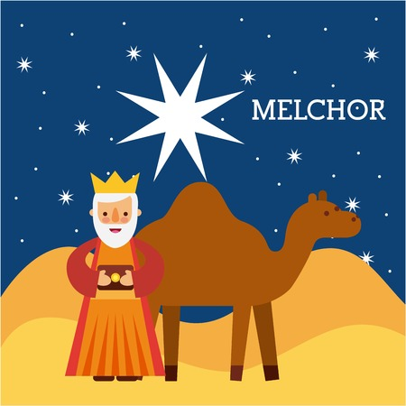 melchor wise king nad camel wise king manger character bringing gift to jesus vector illustraton