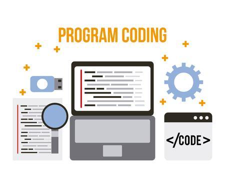 program coding wed software development languages process vector illustration