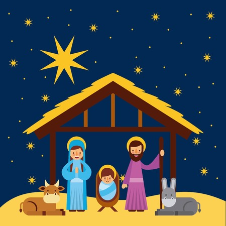 merry christmas manger celebration festive vector illustration