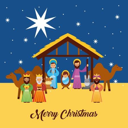 Feliz Navidad saludos con Jesús nacido en el pesebre Joseph y Mary Wise King personajes ilustración vectorial