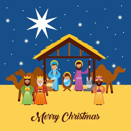 estrella de belen: Feliz Navidad saludos con Jesús nacido en el pesebre José y María Reyes Reyes personajes vector illustration