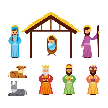 set of people animal manger christmas holiday vector illustration Ilustração