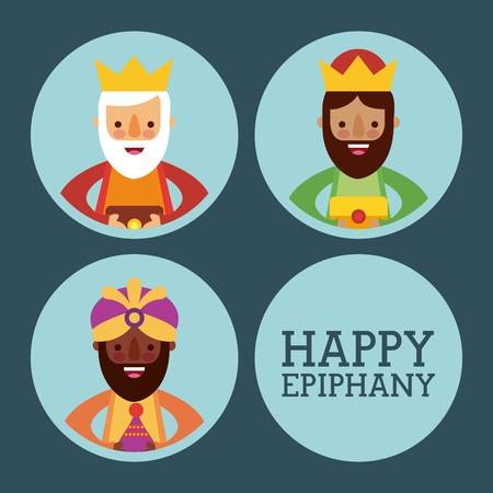 happy epiphany three kings of orient celebration vector illustration Illustration