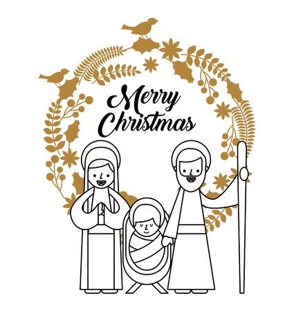 merry christmas holy family traditional religious scene of the manger vector illustration