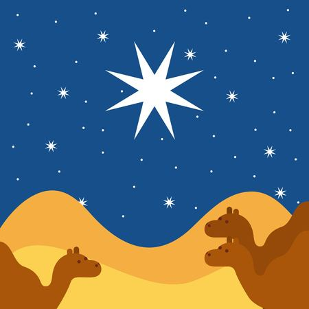 merry christmas camels night landscape vector illustration