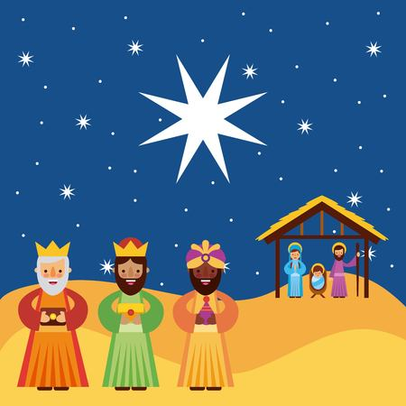 the three kings of orient vector illustration