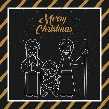 メリー クリスマス聖なる家族伝統的な宗教的なシーンの飼い葉桶のベクトル図の