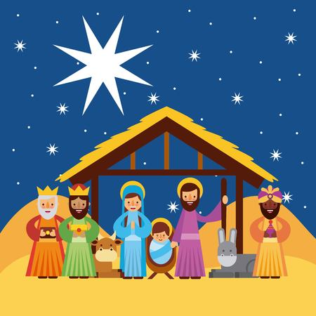 merry christmas greetings with jesus born in manger joseph and mary wise king characters vector illustration