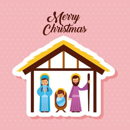 merry christmas holy family traditional religious scene of the manger vector illustration