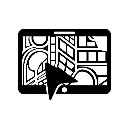 navigation gps device and city map with arrow technology vector illustration Illusztráció