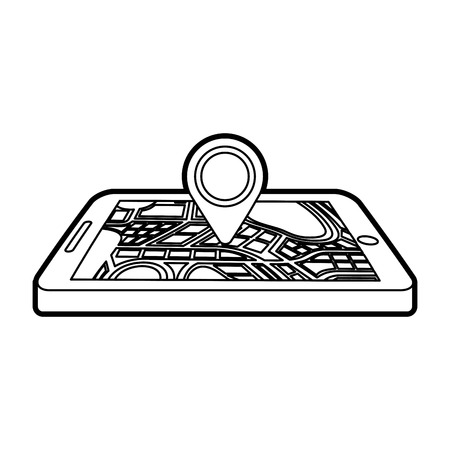 navigation gps device and city map with pins technology and traveling concept vector illustration Banco de Imagens - 87111659