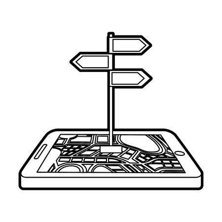 navigation gps device and city map with signpost technology and traveling concept vector illustration