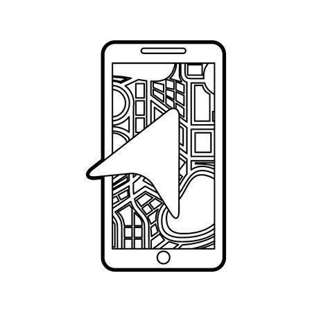 矢印ナビゲーション マップ市ベクトル図と携帯電話