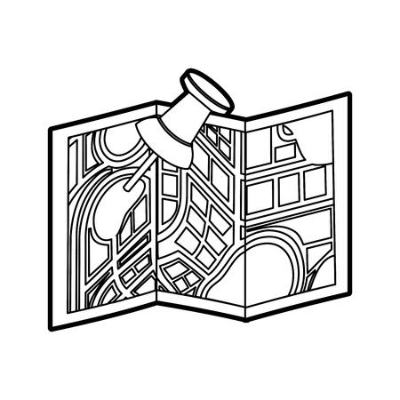 kaart navigatie gps met aanwijzer geïsoleerd op witte backgroundvector illustratie Stock Illustratie