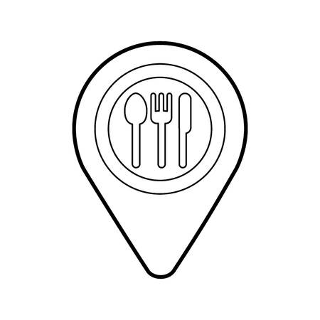map pin pointer with cafe or restaurant sign icon vector illustration