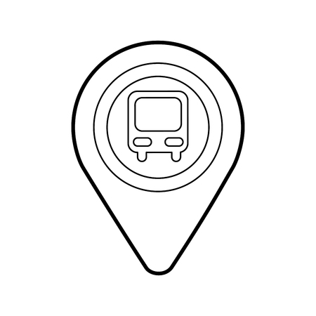 map pointer with symbol bus station for location vector illustration