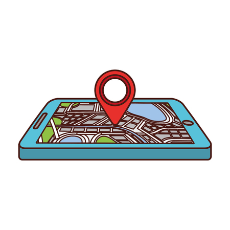 navigation gps device and city map with pins technology and traveling concept vector illustration Фото со стока - 87111721