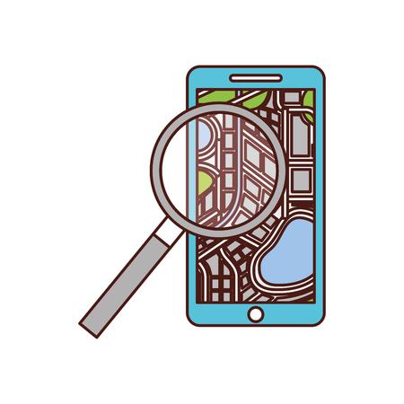 mobile phone navigator map magnifier app vector illustration
