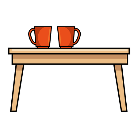 table wooden with coffee cups vector illustration design