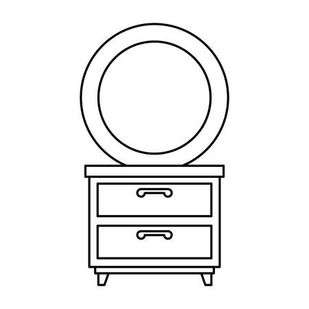 nachtkastje slaapkamer met spiegel vector illustratie ontwerp Stock Illustratie