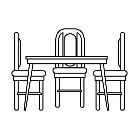 eettafel en stoelen vector illustratie ontwerp Stock Illustratie