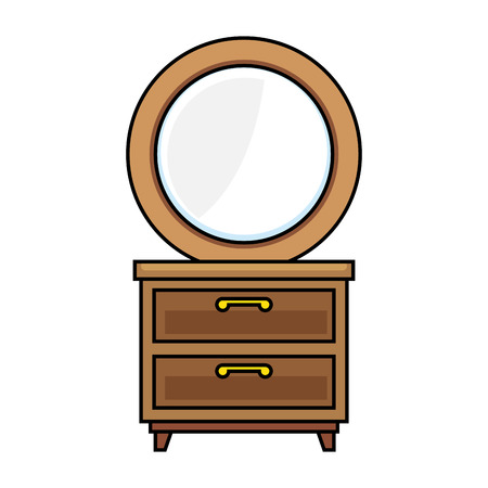Nachttisch Schlafzimmer mit Spiegel Vektor Illustration design Standard-Bild - 87229829