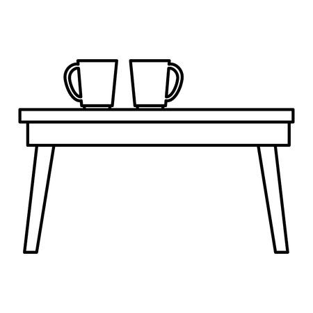 tafel houten met koffie kopjes vector illustratie ontwerp