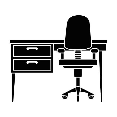 office desk and chair vector illustration design Ilustração