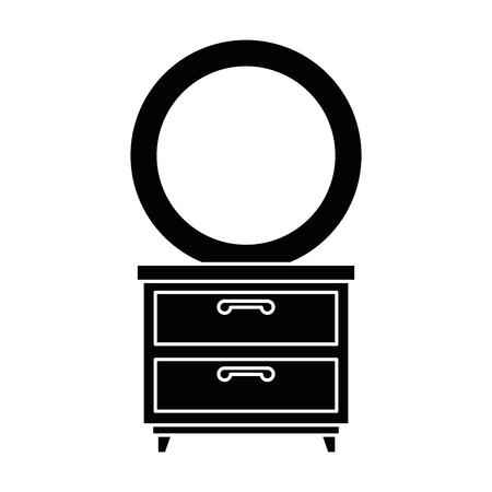 Nachttisch Schlafzimmer mit Spiegel Vektor Illustration design Standard-Bild - 87229880