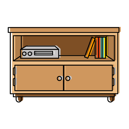 nightstand bedroom with books vector illustration design
