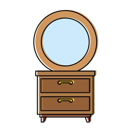 Nachttisch Schlafzimmer mit Spiegel Vektor Illustration design Standard-Bild - 87229946