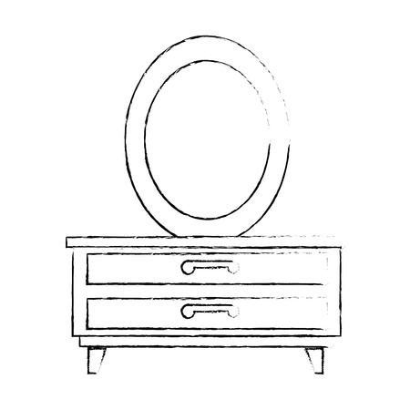 Nachttisch Schlafzimmer mit Spiegel Vektor Illustration design Standard-Bild - 87229965