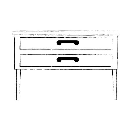 nachtkastje slaapkamer geïsoleerd pictogram vector illustratie ontwerp