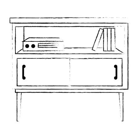 nachtkastje slaapkamer met boeken vector illustratie ontwerp